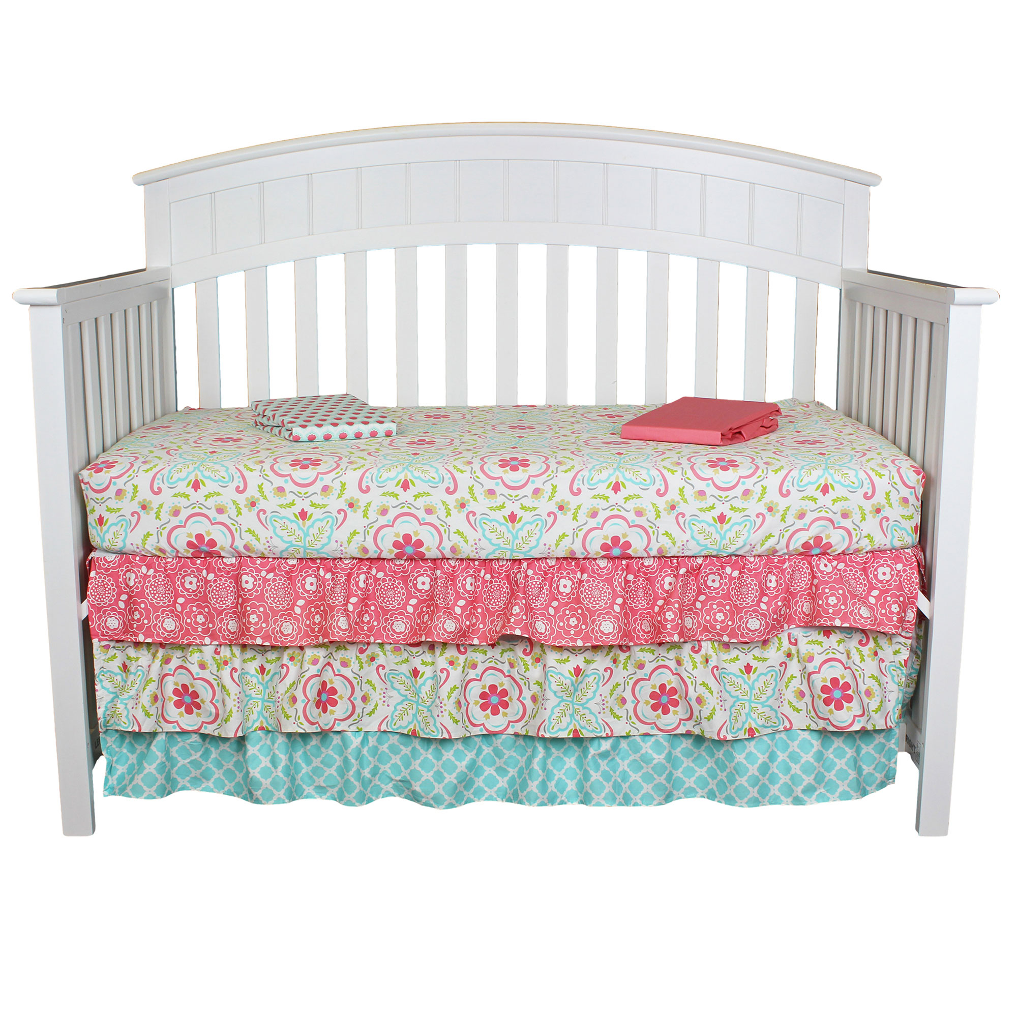 The Peanut Shell Baby Girl Crib Bedding - Gia 4 Piece Set - Skirt and 3 Sheets