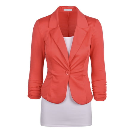 Auliné Collection Women's Casual Work Solid Color Knit Blazer (Purple Nike Blazers)