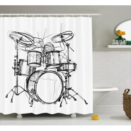 Rock Music Shower Curtain, Doodle Drawing Sketch Style Drummer Musical Inspirations Monochrome Arrangement, Fabric Bathroom Set with Hooks, Black White, by Ambesonne