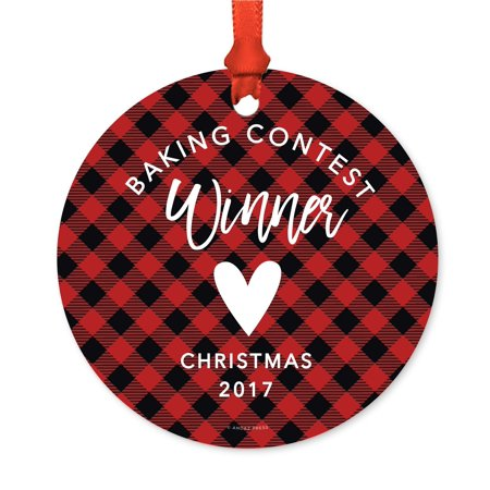 Family Metal Christmas Ornament, Baking Contest Winner Christmas 2017, Red Plaid, Includes Ribbon and Gift Bag - Halloween Photo Contests 2017