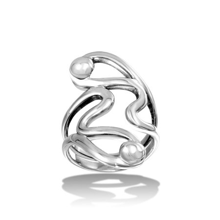 High Polished Sterling Silver Abstract Wrap Ring Size 12 - Wrap Rings
