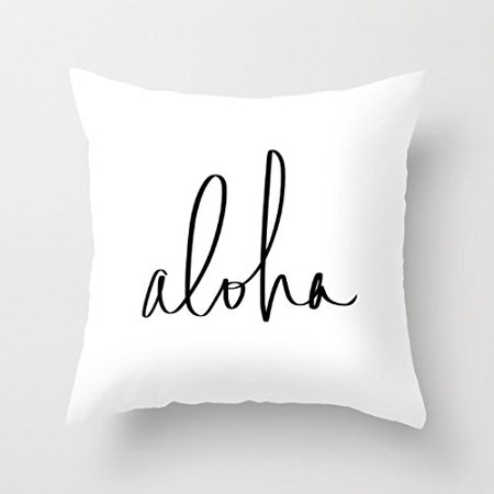 DEYOU Aloha Hawaii Typography Pillowcase Pillow Case Cover Two Sides Printing Size 18x18 inch - Aloha Printing