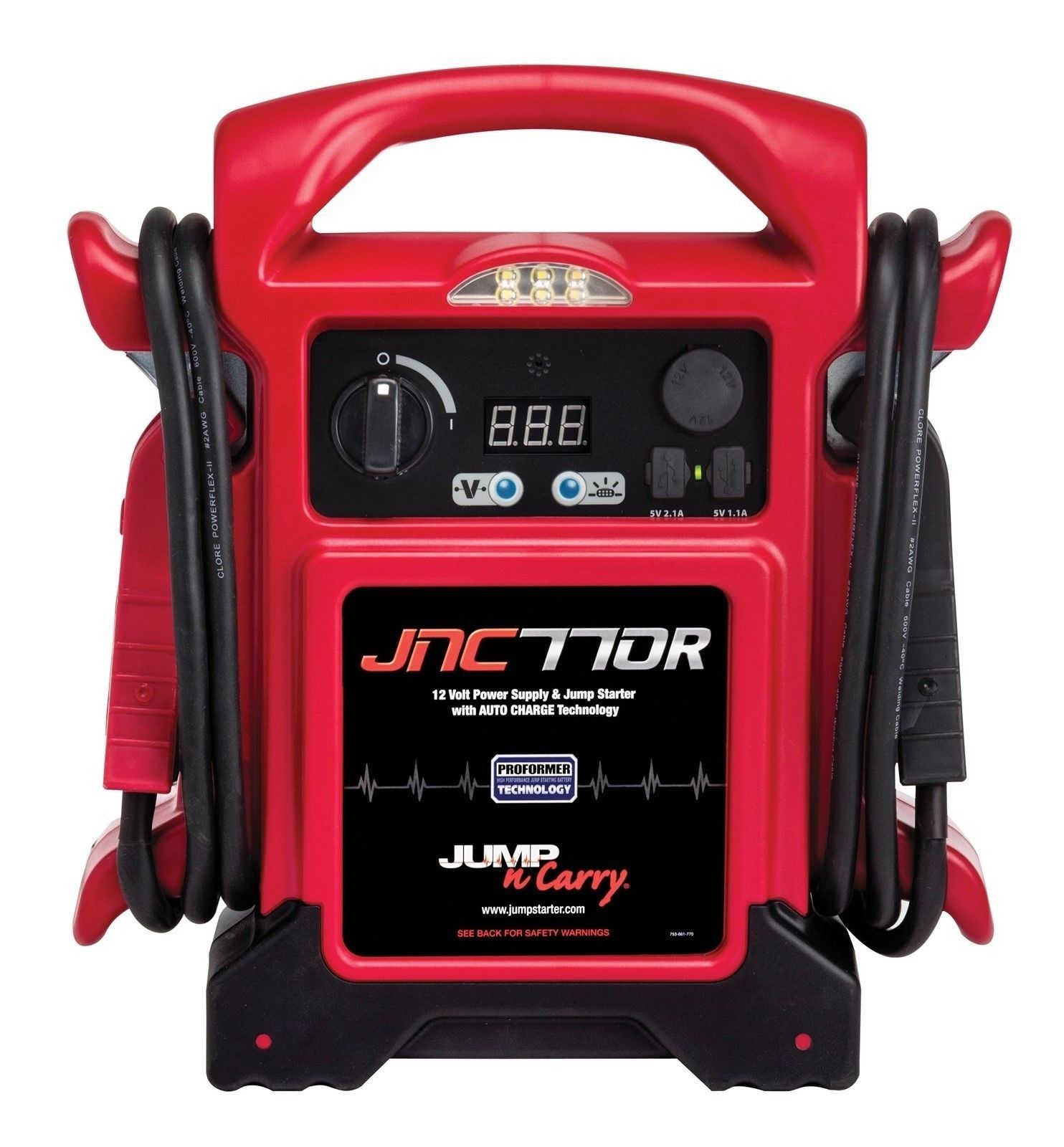 "Jump N Carry JNC770R 1700 Amp 12V Jump Box! 68"" Welding Cable! LED Light!"