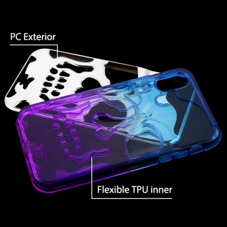 iPhone XR Case by Insten Skullcap Dual Layer [Shock Absorbing] Hybrid Electroplating Hard Plastic/Soft TPU Rubber Case Cover For Apple iPhone XR, Blue/Purple - image 1 de 4