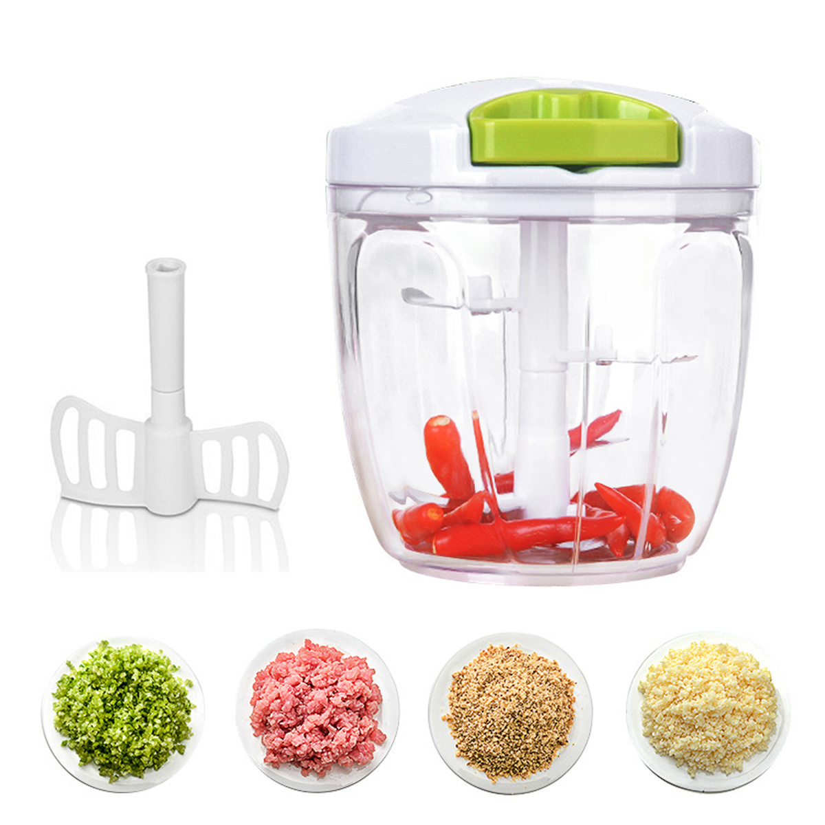 �BIG SALE!�Manual Food Chopper Processor Blender with 5 Sharp Blades & 900ml for Vegetables, Fruit, Nuts,... by