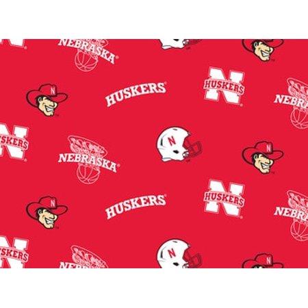 NCAA Nebraska Cornhuskers Fleece Fabric, per Yard