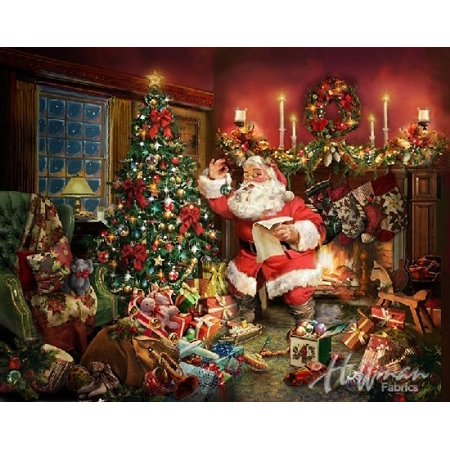 Ol St. Nick~Christmas Santa, Digital Panel 35'' x 44''  Cotton Fabric by Hoffman