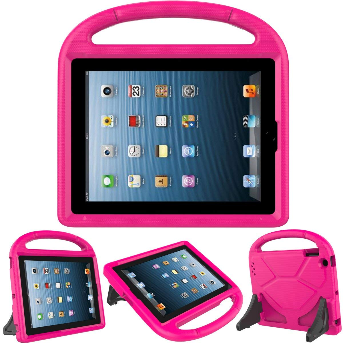 Kids Case for iPad 2 3 4 9.7-inch Tablet, Allytech Shock Proof Convertible Handle Light Weight Durable Super Protective Stand Cover for iPad 4, iPad 3 & iPad 2 2nd 3rd 4th Generation Tablet - Rose