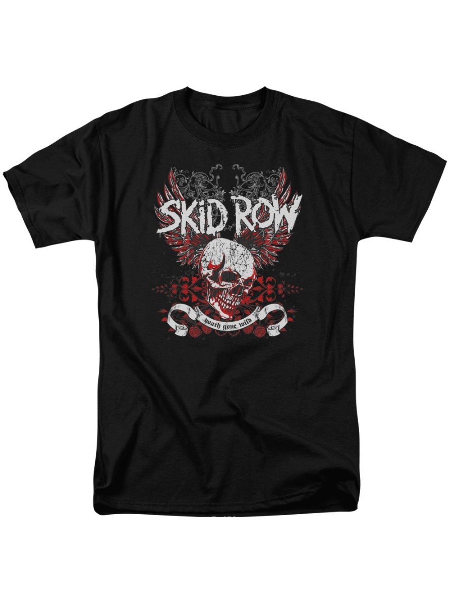 Skid Row Classic Hair Metal Rock Band Youth Gone Wild Skull Adult T-Shirt Tee