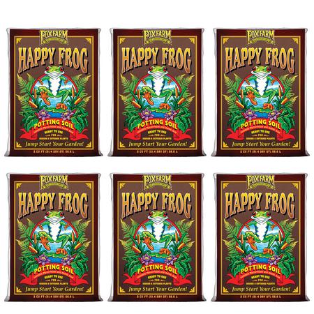 FoxFarm pH Adjusted Happy Frog Potting Soil Mix 2 Cubic Feet Bag (6 Pack)