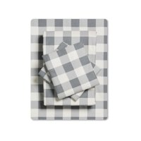 Mainstays 100% Cotton Flannel Sheet Set Twin-XL (Buffalo Plaid Grey)