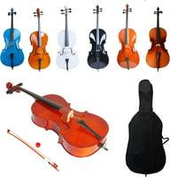 Ktaxon Beginner Cello 4/4 Full Size BassWood + Bag + Bow + Rosin + Bridge Natural Color