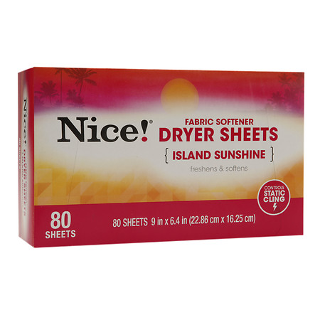 Nice! Fabric Softener Dryer Sheets Island Sunshine 80.0 ea(pack of 6)