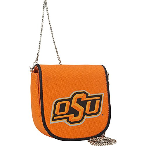Ashley M Oklahoma State University Pleated Canvas Shoulder Bag