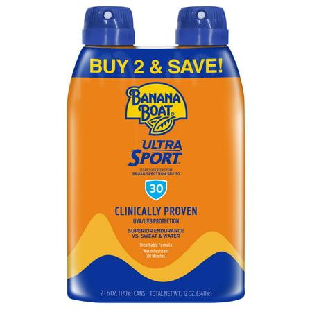 Banana Boat Ultra Sport Clear Sunscreen Spray SPF 30, 12 Oz Twin Pack Bug Spray Sunscreen
