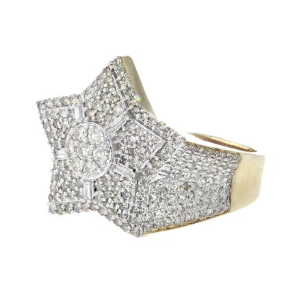 14K Gold Diamond Ring for Mens Star Ring Baguette and Round Diamonds 20mm 1.08ctw