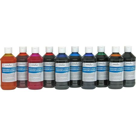 Handy Art, HAN882275, Washable Liquid Watercolors, 10 / Set ()
