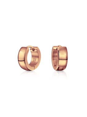 Black Silver Rose Gold Tone Plated Simple Plain Kpop Huggie Hoop Earrings For Men For Women For Teen Stainless Steel