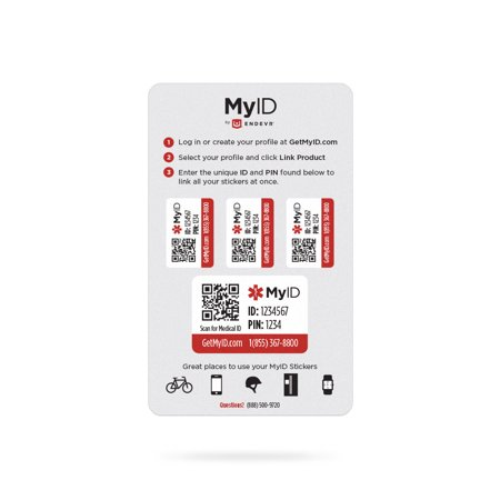 MyID Sticker Kit with Online Medical ID Profile](Medical Stickers)