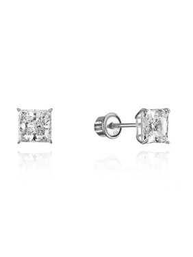 76994f192 Product Image 10k White Gold 4mm Basket Princess Cut CZ Cubic Zirconia  Children Screw Back Baby Girls Earrings