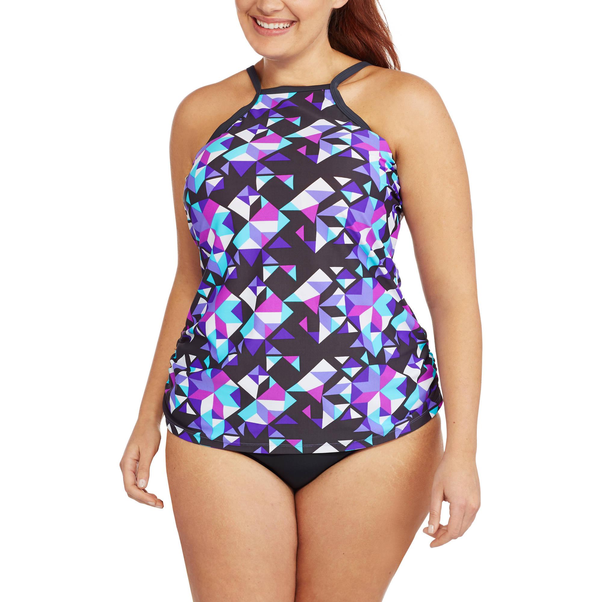 free tech women's plus-size sporty high-neck tankini top - walmart