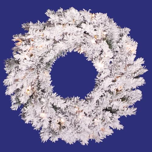 Vickerman Flocked Alaskan Unlit Wreath