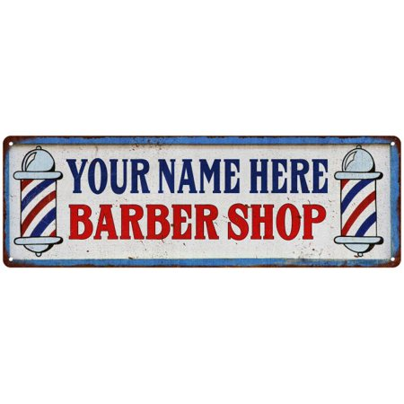 Your Name Barber Shop Hair Salon Personalized Metal Sign Retro 6x18