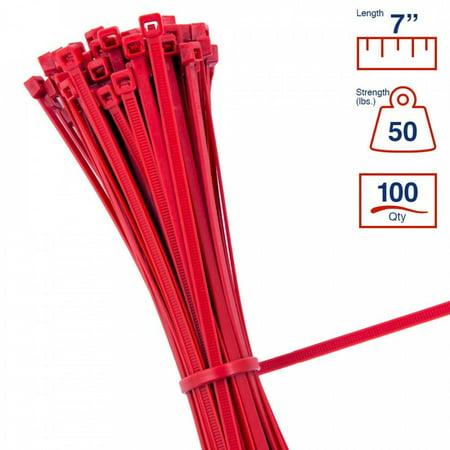 - BCT 7 Inch 50 lb Cable Ties - Medium Duty Industrial/Home Use - Bag of 100 - Red - Zip Ties - Y7502C