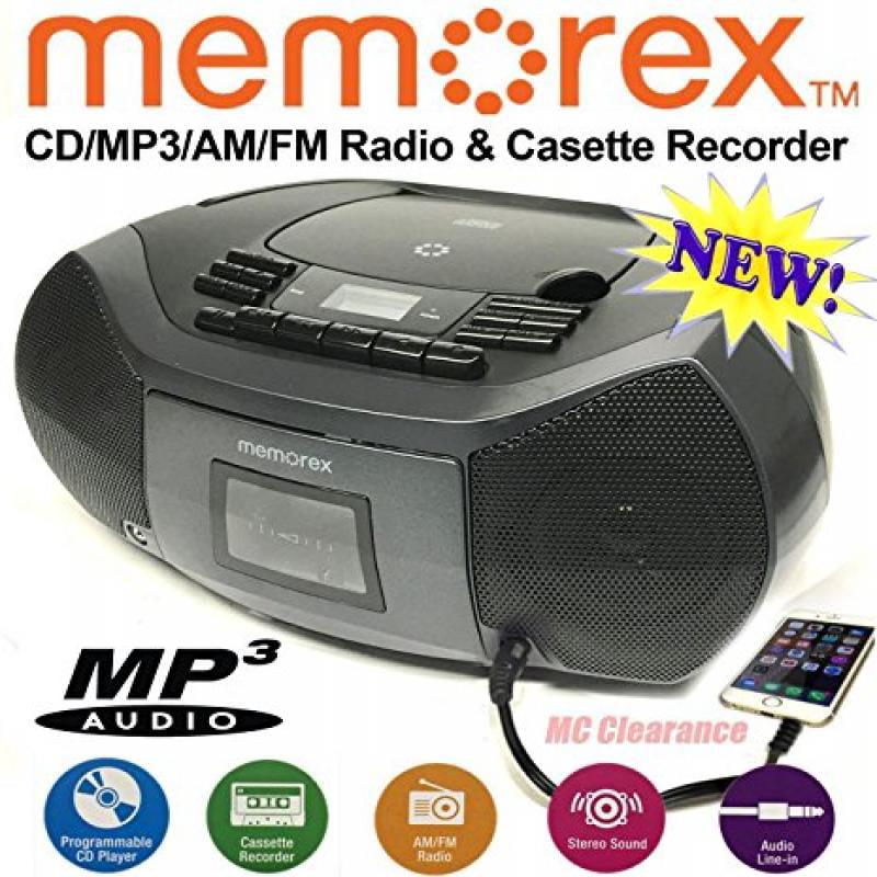 Memorex CD Cassette Recorder MP3 AM FM FlexBeats Boombox MP3261 with Aux line in jack Black by Memorex