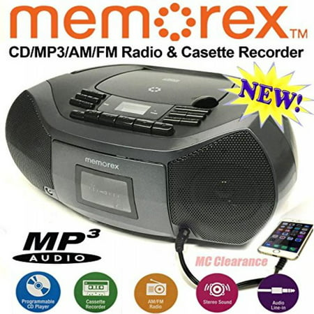 Memorex CD/Cassette Recorder MP3 AM/FM FlexBeats Boombox MP3261 with Aux line in jack -
