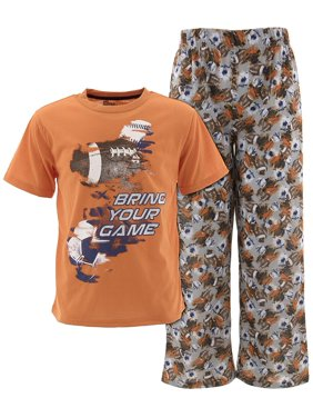 Sleep On It Boys Bring Your Game Orange Pajamas