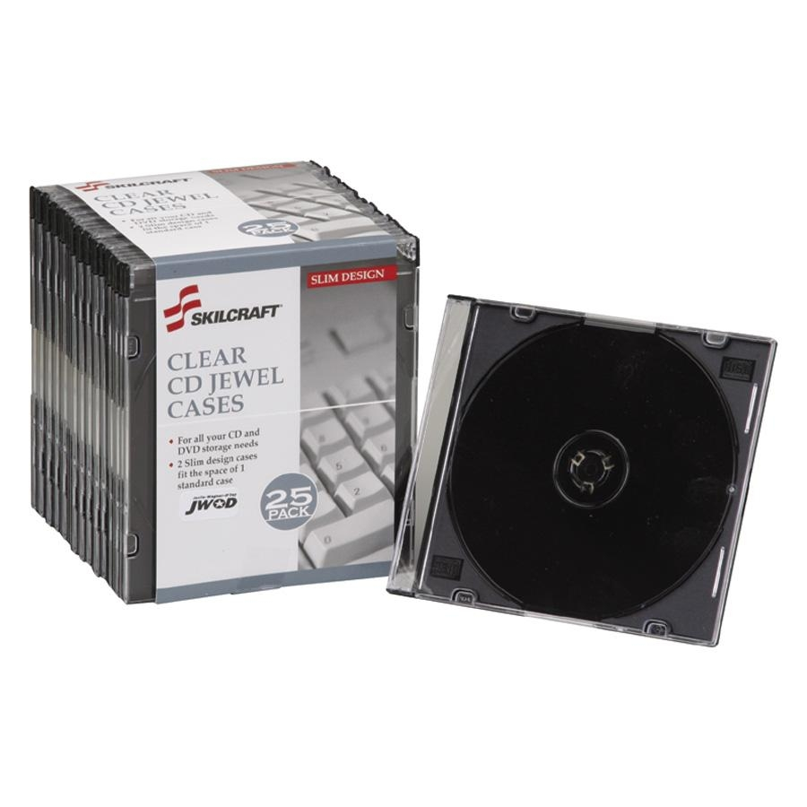 Skilcraft CD Storage Cases, Jewel, 25/PK, Clear 5026513