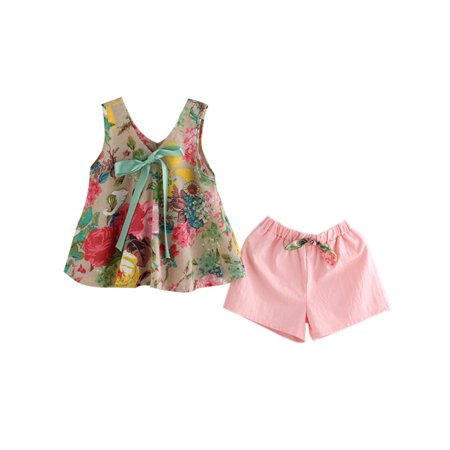 50 60 Outfits (Lavaport Baby Kids Girls Summer Clothes Bowknot Floral Tops + Shorts Outfits)
