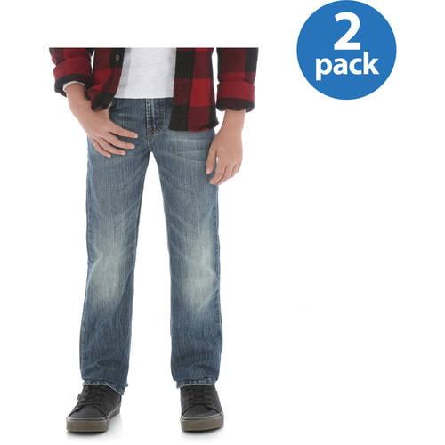 Wrangler Husky Boys' Premium Slim Straight Pant, 2 Pack Your Choice