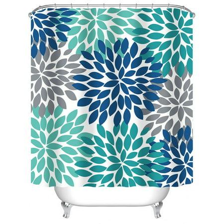 Popeven Dahlia Pinnata Floral Shower Curtain, Antique Colorful Blue Teal Grey Flower Bathroom Curtain Sets, Water Resistant Decorative Bathroom Fabric, 72 x 72 Inch ()