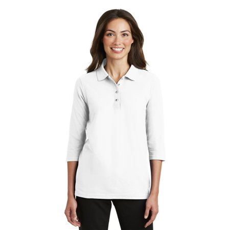 Port Authority Womens Silk Touch 3 4 Sleeve Polo Shirt   L562
