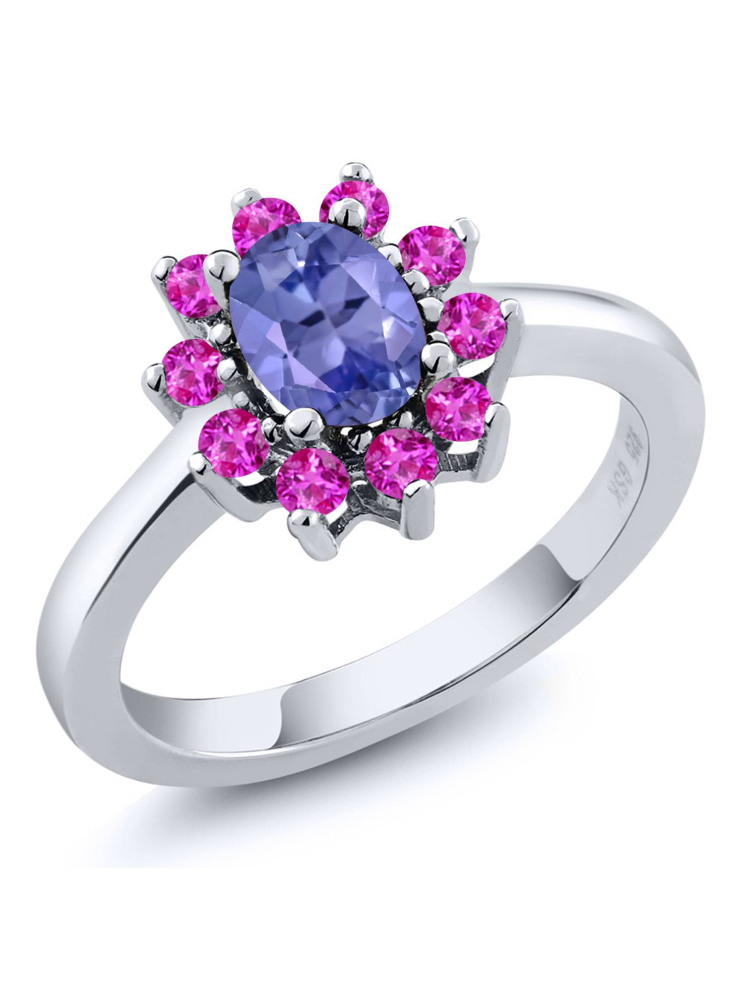 1.25 Ct Oval Blue Tanzanite Pink Sapphire 925 Sterling Silver Ring by