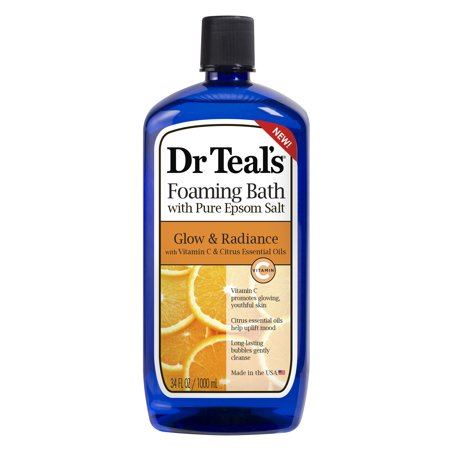 Dr Teal's Foaming Bath with Pure Epsom Salt, Glow & Radiance with Vitamin C & Citrus Essential Oils, 34 oz