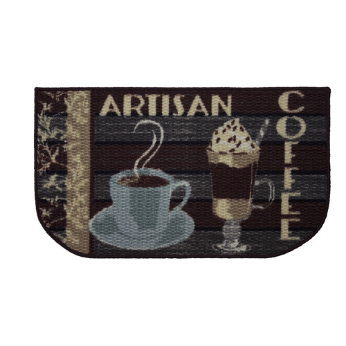 Structures Artisan Coffee Printed Textured Loop Kitchen Accent Rug
