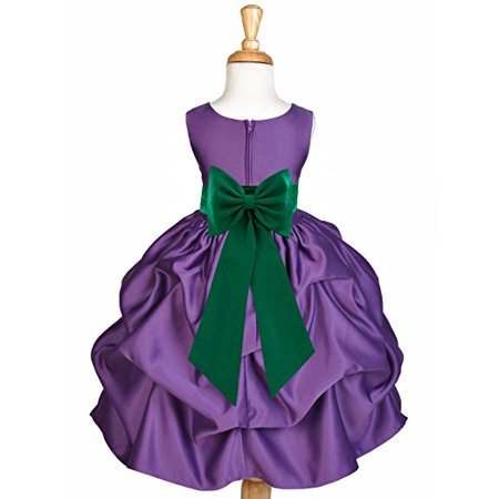 Ekidsbridal Purple Satin Pick-Up Flower Girl Dress Junior Toddler ...