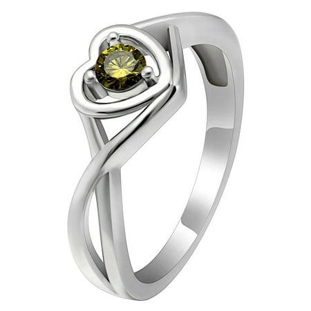 Christine Sterling Silver August Olive Green CZ Birthstone or Engagement Bridal Wedding Ring Ginger Lyne