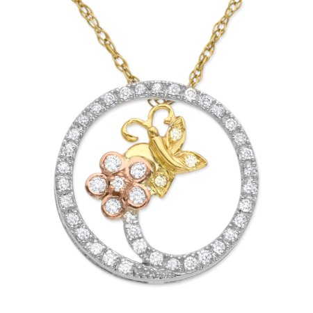 1/5 ct Diamond Butterfly Circle Pendant Necklace in 14kt Three-Tone Gold