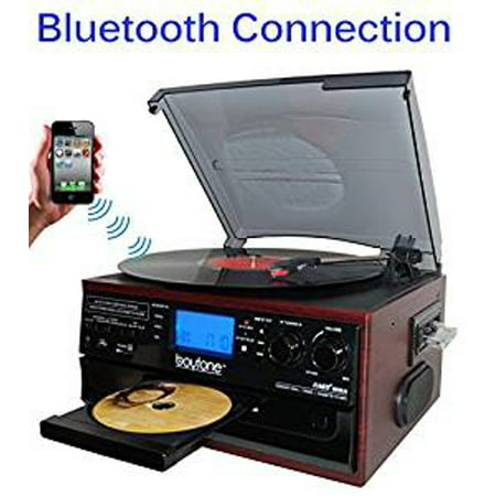 Boytone BT-22C, Bluetooth IN & OUT Record Player Turntable, AM/FM, Cassette, CD Player, Built in speaker (Cassette Cd Record Player)