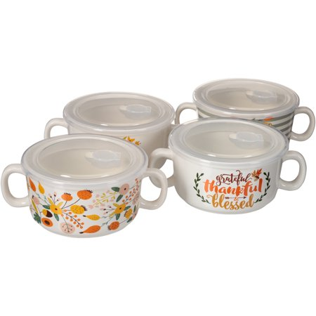 Mainstays Harvest Floral Set of 4 Double Handled Soup Bowl with Lid, Walmart
