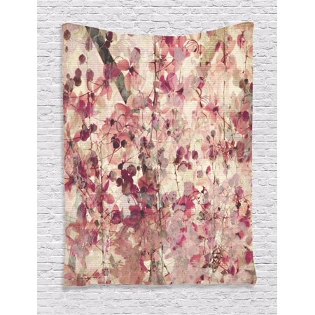Retro Cherry Pink Blossoms on Bamboo Pattern Floral Decor Wall Hanging Tapestry