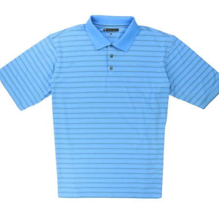 Pebble Beach Performance Mens Pima Cotton Blend Polo Golf Shirt Light Blue Pin Stripe
