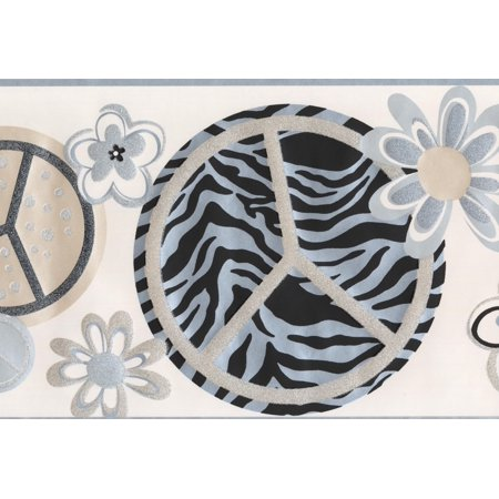 Peace on Zebra Circles Alabaster White Abstract Wallpaper Border Retro Design, Roll 15' x 9
