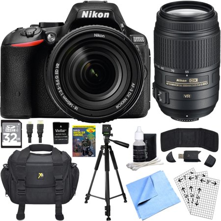 Nikon D5500 Black SLR Camera 18-140mm Lens, 55-300 Lens, 32GB, & Battery Bundle