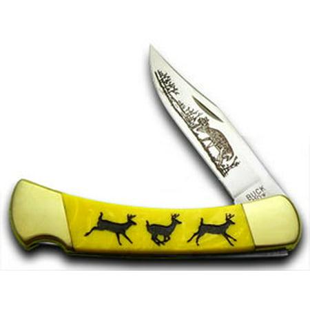BUCK 110 Custom Yellow Corelon Running Deer 1/400 Pocket
