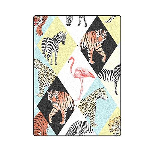CADecor Jungle Zebra, Pink Flamingo, Tiger, Lion Throw Blanket Bed Sofa Blanket 58x80 inches